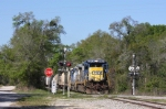 CSX 5947 leads A781-21 east bound about to cross Gordon Chapel Rd Mile post AS725.23